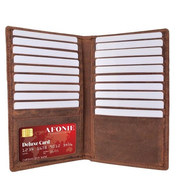 AFONiE Distressed RFID Long Credit Card Wallet
