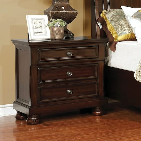 Furniture of America Muct Transitional Solid Wood 3-drawer Nightstand