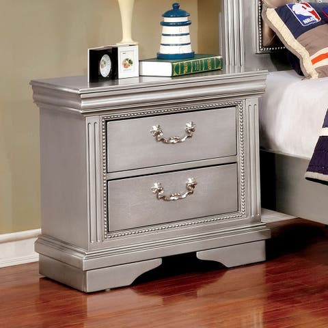 Furniture of America Balm Traditional Grey Solid Wood Nightstand