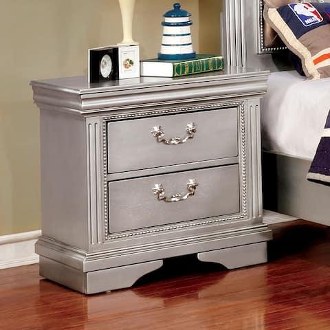 Brummel Traditional Silver Grey 2-drawer Nightstand by FOA