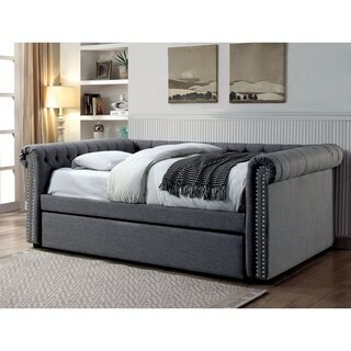 Furniture of America Nellie Tuxedo Style 2-piece Tufted Queen-size Linen Daybed with Twin Trundle Set