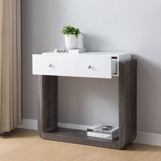Furniture of America Zilo Modern Distressed Grey & White 1-Drawer Sofa Table