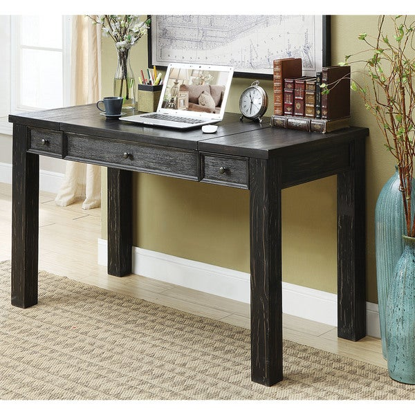 furniture of america tammy rustic antique black lift top writing desk - Black Writing Desk