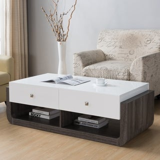 Furniture of America Zilo Modern Distressed Grey & Glossy White 2-Drawer Coffee Table