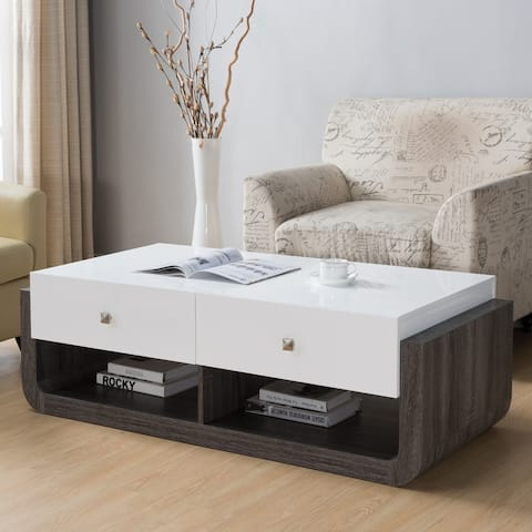 Furniture of America Zilo Modern White 2-drawer Coffee Table