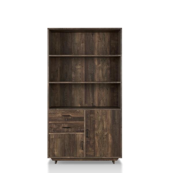 Furniture Of America Garuga Country Style Reclaimed Oak Multi Storage Bookshelf