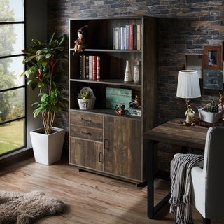 Furniture of America Garuga Country Style Reclaimed Oak Multi-Storage Bookshelf
