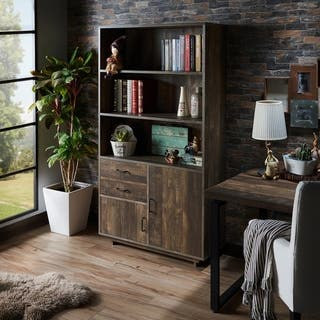 Furniture Of America Garuga Country Style Reclaimed Oak Multi Storage Bookshelf