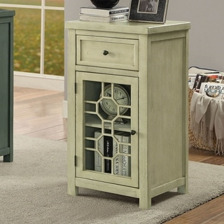 Furniture of America Emma Transitional White Solid Wood Side Table
