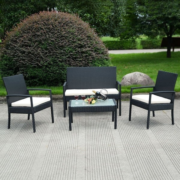 IDS Home 4 Pieces Rattan Patio Furniture Set White Cushioned Black Rattan