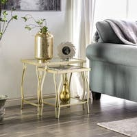 Furniture of America Chappelle Glam 2-piece Glass Nesting Tables
