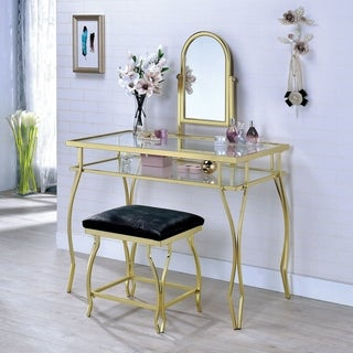 Link to Furniture of America Mowe Contemporary Metal 3-piece Vanity Set with Stool Similar Items in Bedroom Furniture