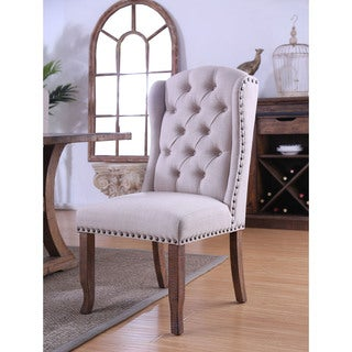 Furniture of America Deruby Rustic Pine Wingback Side Chair (Set of 2)