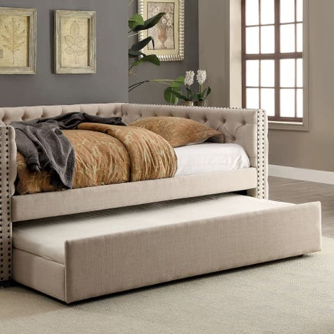 Furniture of America Quel Contemporary Ivory Twin Fabric Trundle