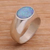 Handmade Sterling Silver 'Infinite Bali' Opal Ring (Indonesia)