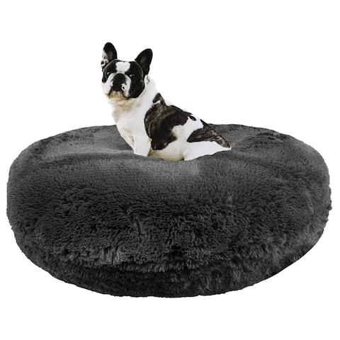 Bessie and Barnie Signature Wolfhound Grey Luxury Shag Extra Plush Faux Fur Bagel Pet / Dog Bed
