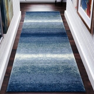"LR Home Jewel Abstract Ombre Blue Poly-Cotton Blend Rug - 2'8"" x 7'"