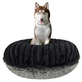 Bessie and Barnie Signature Midnight Frost/ Black Puma Luxury Shag Extra Plush Faux Fur Bagel Pet / Dog Bed