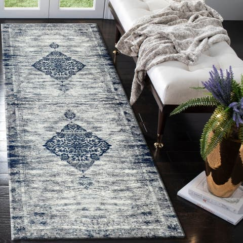 "LR Home Jewel Victorian Prominence Navy Poly-Cotton Blend Rug - 2'8"" x 7'"