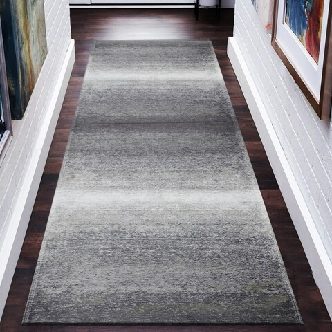 """LR Home Jewel Distressed Ombre Gray/ Beige Poly-Cotton Blend Rug - 2'8"""" x 7'"""