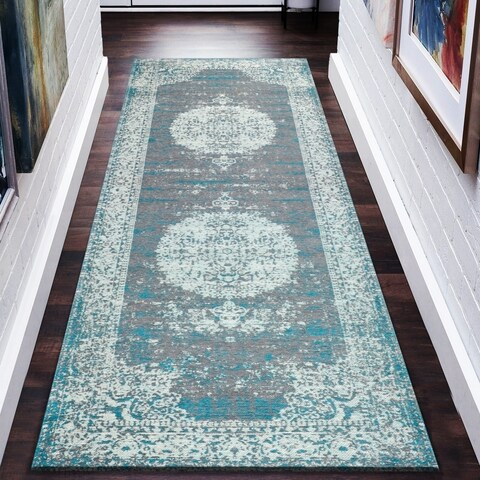 """LR Home Jewel Distressed Oriental Gray/ Turquoise PolyCotton Blend Rug - 2'8"""" x 7'"""