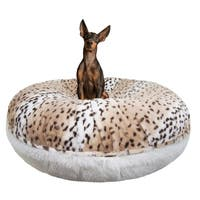 Bessie and Barnie Signature Aspen Snow Leopard/ Snow White Luxury Shag Extra Plush Faux Fur Bagel Pet / Dog Bed