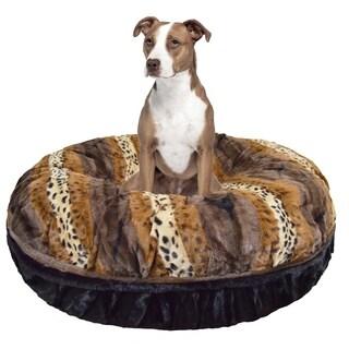 Bessie and Barnie Signature Wild Kingdom/ Black Puma Luxury Extra Plush Faux Fur Bagel Pet / Dog Bed