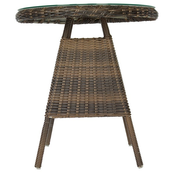 Korsika Outdoor Round Bistro Table with Glass Top