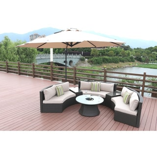 Half Moon 6-piece Curved Wicker Patio Furniture Set  by Direct Wicker(without Umbrella)