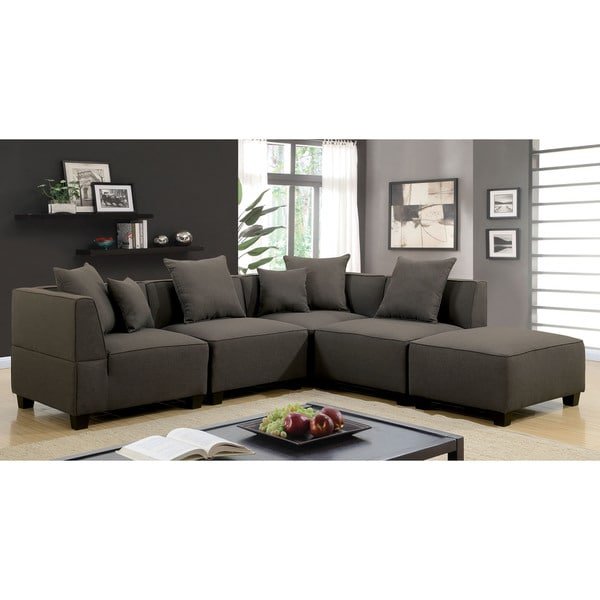 Furniture of America Dylano 5-Piece Modular Grey Linen Sectional