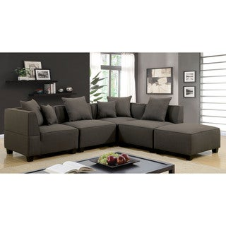 Furniture of America Dylano Contemporary Dark Grey 5-Piece Modular Sectional