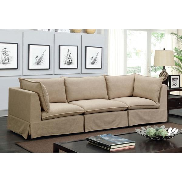 Furniture Of America Elsbeth Contemporary Beige Linen Fabric Skirted Modular Sofa