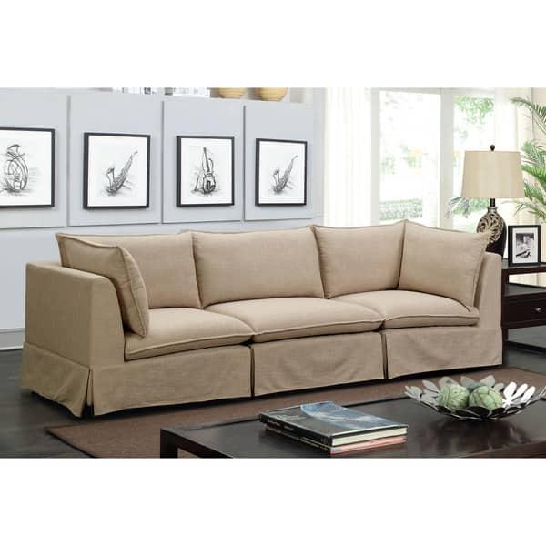 Shop Furniture of America Nema Contemporary Beige Linen ...