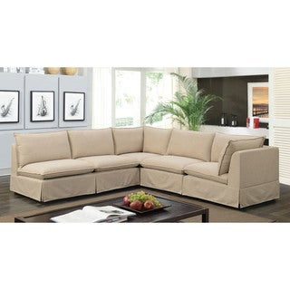 Furniture Of America Elsbeth Contemporary Beige Skirted Modular Sectional