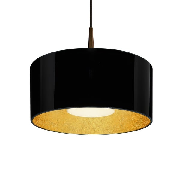 Bruck Lighting Cantara Bronze 4-inch Canopy Pendant with Black Outer/ Gold Inner Shade