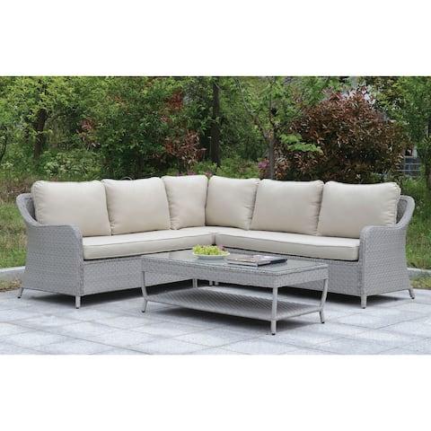 Furniture of America Lloyd Wicker 2-Piece Patio Sectional Set