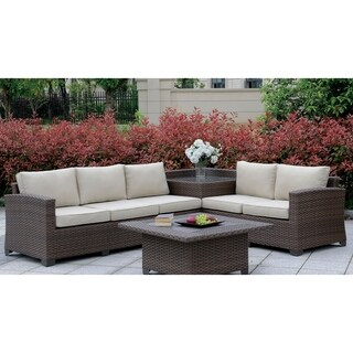 This Furniture of America Langston Contemporary Outdoor Patio Sectional with Corner Table