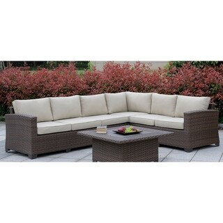 Furniture of America Langston Contemporary Weather Resistant Patio Sectional