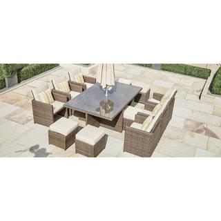 Martinka 11-Piece Outdoor Rectangle Patio Wicker Dining Set