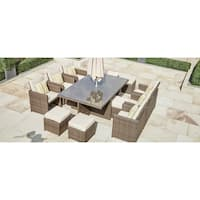 Martinka 11-Piece Outdoor Rectangle Patio Wicker Dining Set