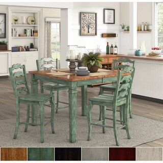 Elena Antique Sage Green Extendable Counter Height Dining Set - French Ladder Back by iNSPIRE Q Classic