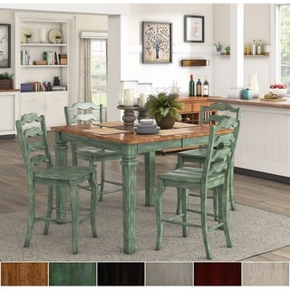 Elena Antique Sage Green Extendable Counter Height Dining Set   French  Ladder Back By INSPIRE Q