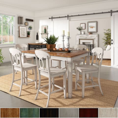 Elena Antique White Extendable Counter Height Dining Set - Napoleon Back by iNSPIRE Q Classic