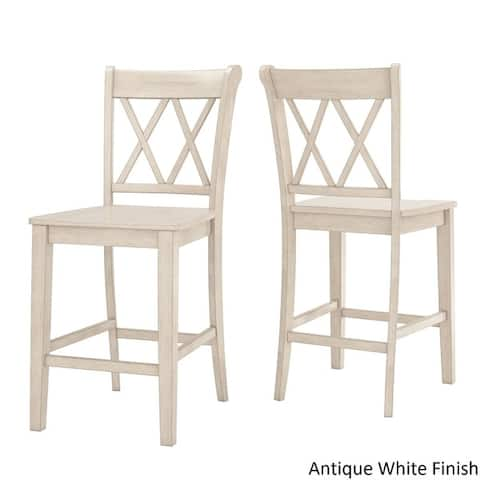 Elena Antique White Extendable Counter Height Dining Set - Double X Back by iNSPIRE Q Classic