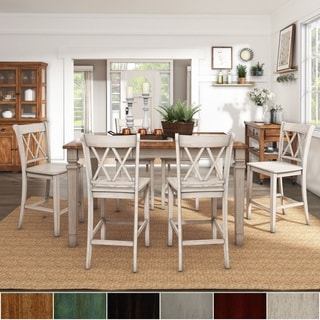 Elena Antique White Extendable Counter Height Dining Set - Double X Back by iNSPIRE Q Classic & Shabby Chic Kitchen u0026 Dining Room Sets For Less | Overstock.com