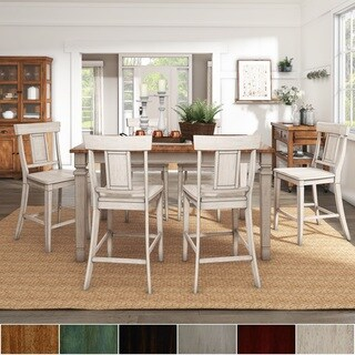 Elena Antique White Extendable Counter Height Dining Set - Panel Back by iNSPIRE Q Classic