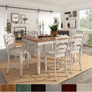 Elena Antique White Extendable Counter Height Dining Set - French Ladder Back by iNSPIRE Q Classic