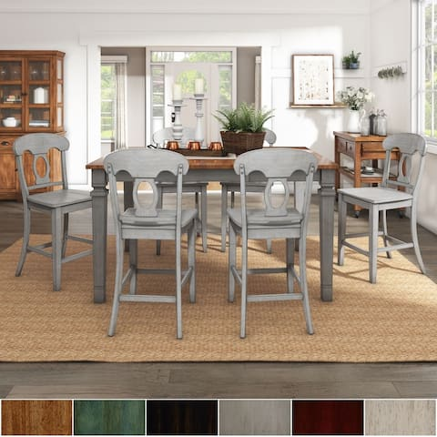 Elena Antique Grey Extendable Counter Height Dining Set - Napoleon Back by iNSPIRE Q Classic