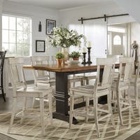 Eleanor Antique Black Counter Height Panel Back Dining Set by iNSPIRE Q Classic