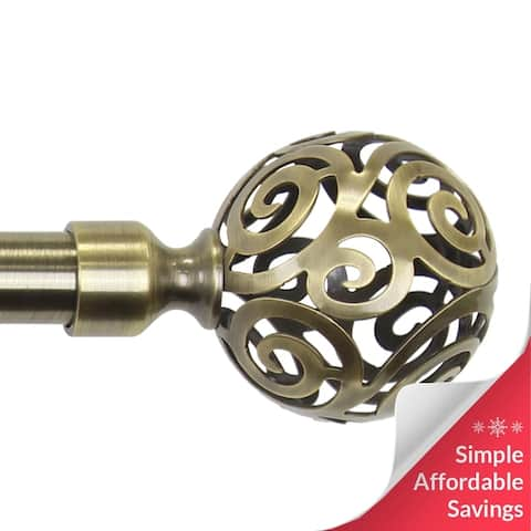 Chicology Curtain Rod, Art Deco Cage Finial, Antique Brass - Clare